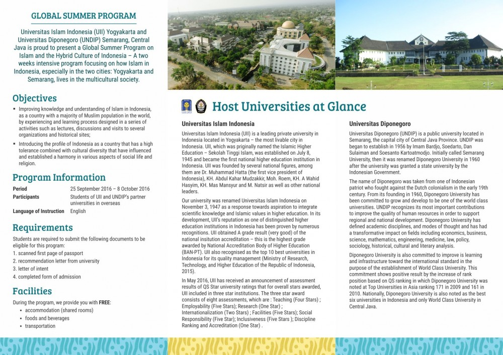 Leaflet Joint Summer Program Undip PKKUI 2