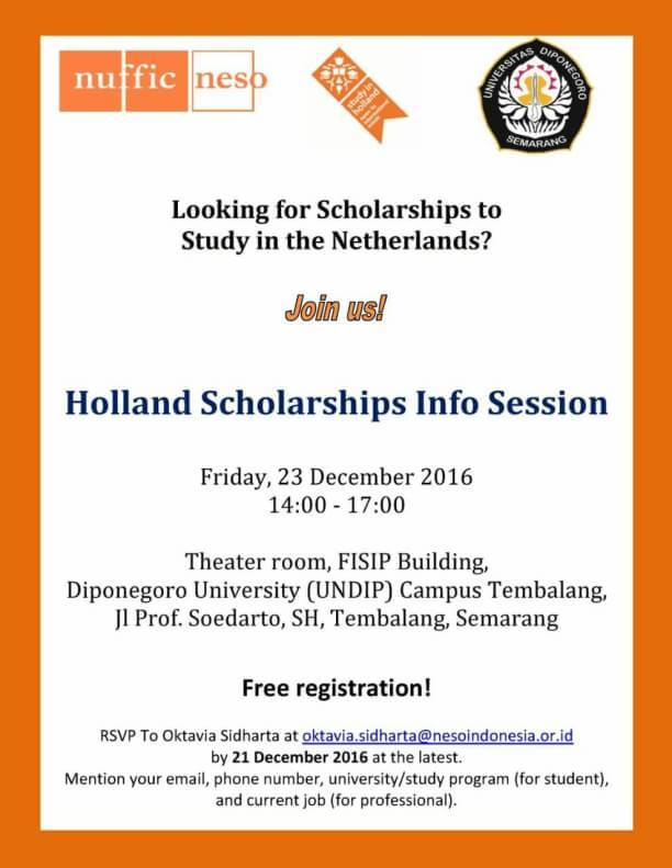 [CALL FOR PARTICIPANTS] INFO SESSION HOLLAND SCHOLARSHIPS: Study in Netherlands