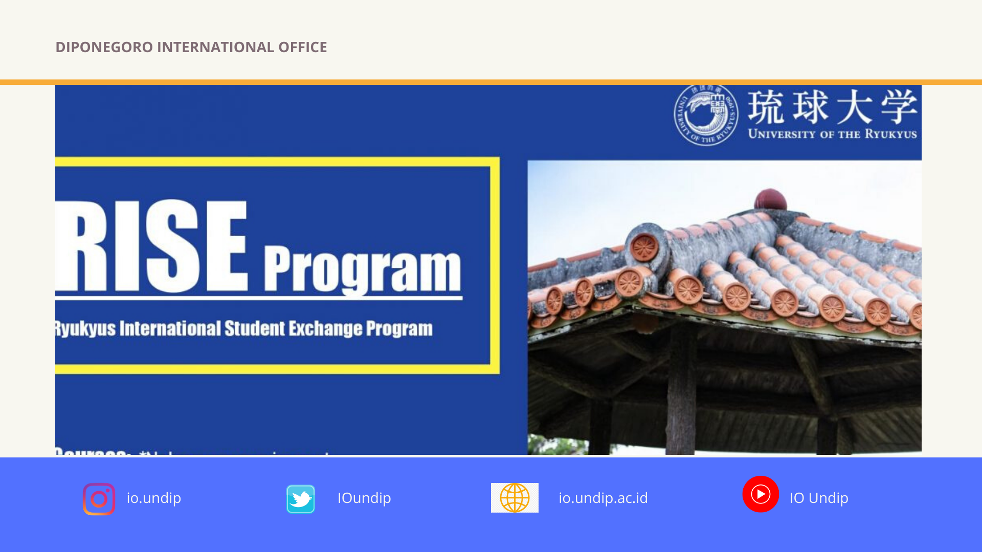 [Call for Participant] Study Abroad at the University of the Ryukyus – Short-Term Exchange Program (Fall 2020)