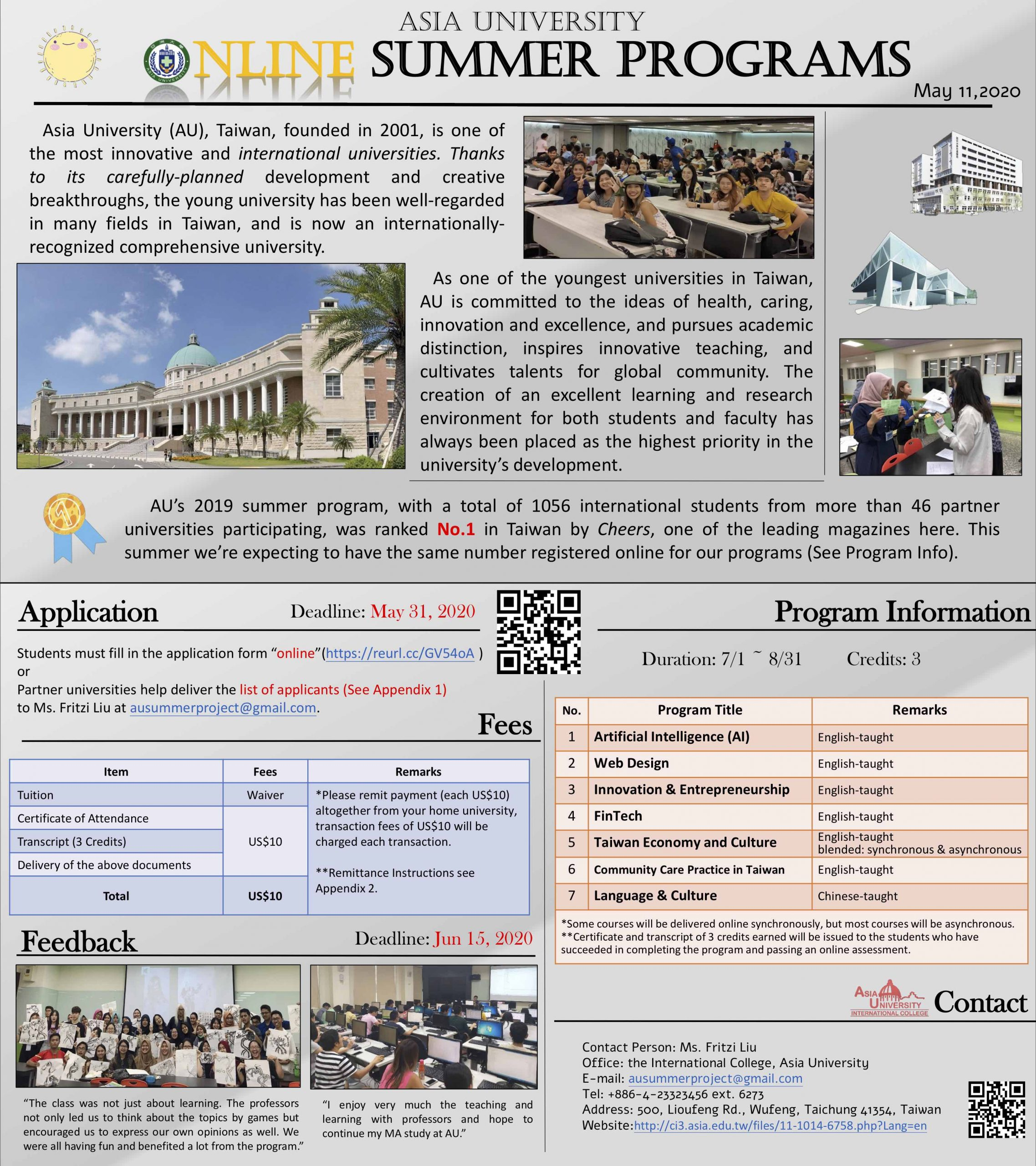 Online Summer Programs – Asia University