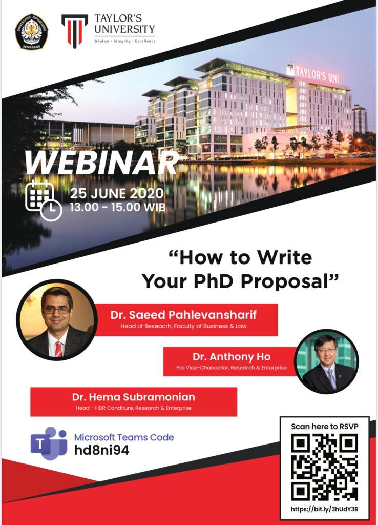 "Online Seminar: ""How to Write Your PhD Proposal"""